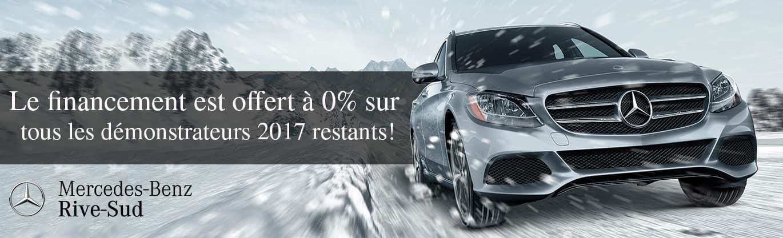 Chez Mercedes-Benz Rive-Sud de financement est offert à 0% sur tous les démonstrateurs 2017 restants!