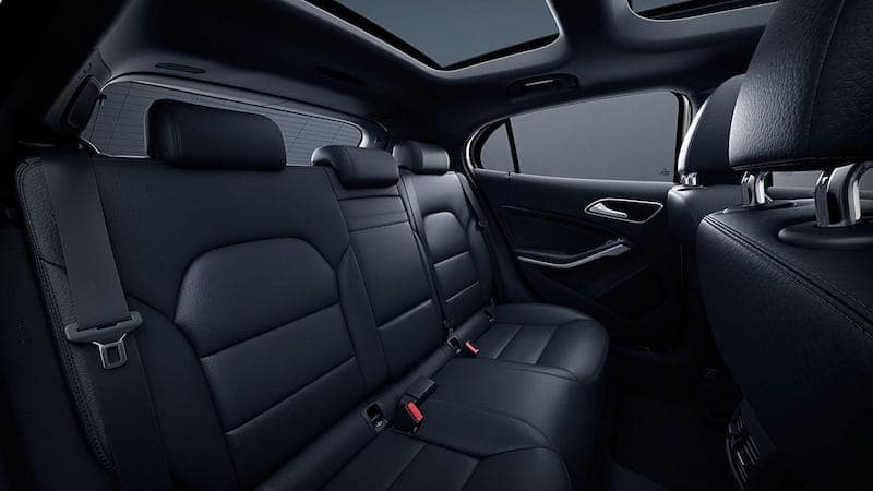 Backseat of the GLA in black leather