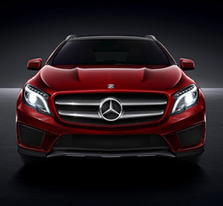 Red Mercedes-Benz with Lights On