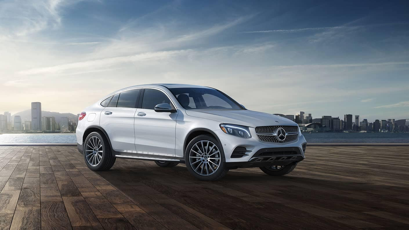 2019 Mercedes-Benz GLC Coupe white exterior