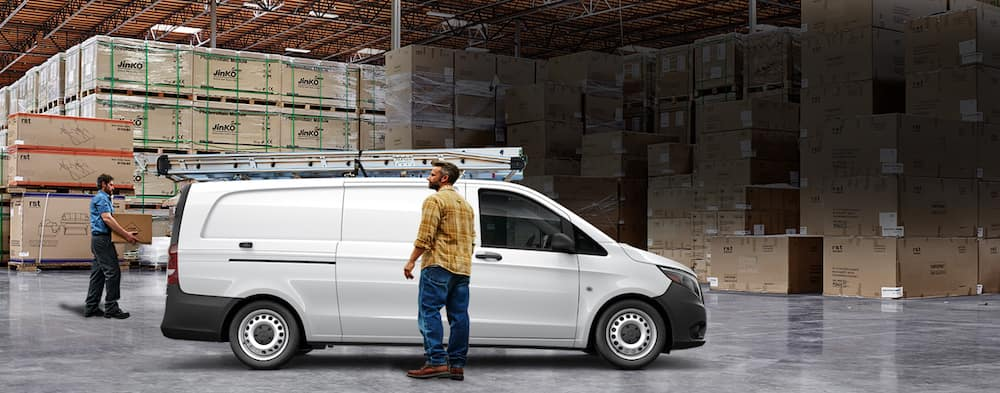 White Mercedes-Benz Metris van parked in a warehouse