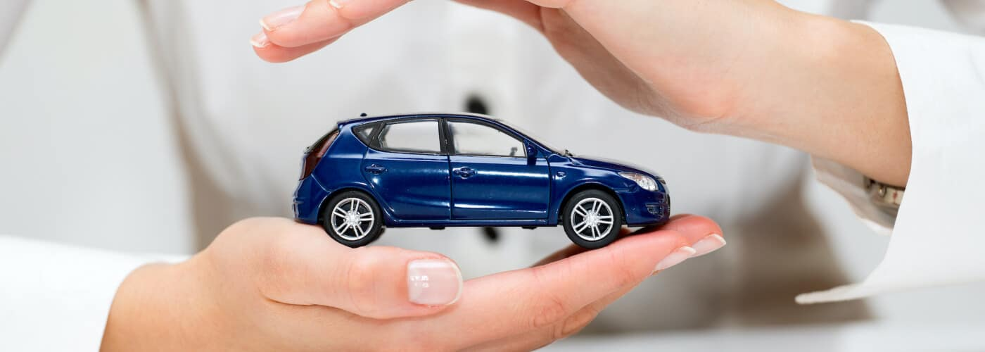 Person protects a small blue car