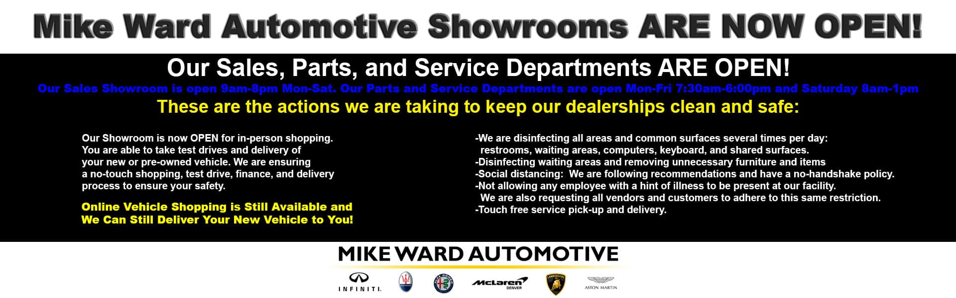 Mike Ward Showrooms are NOW OPEN!