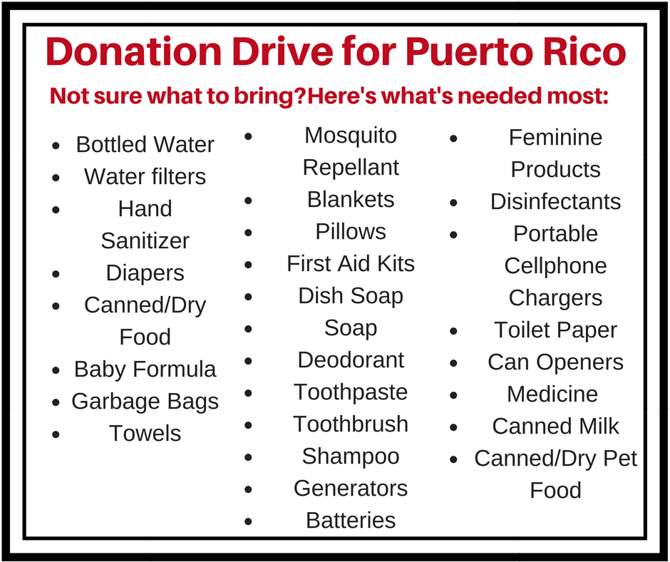 List of donation items for Puerto Rico