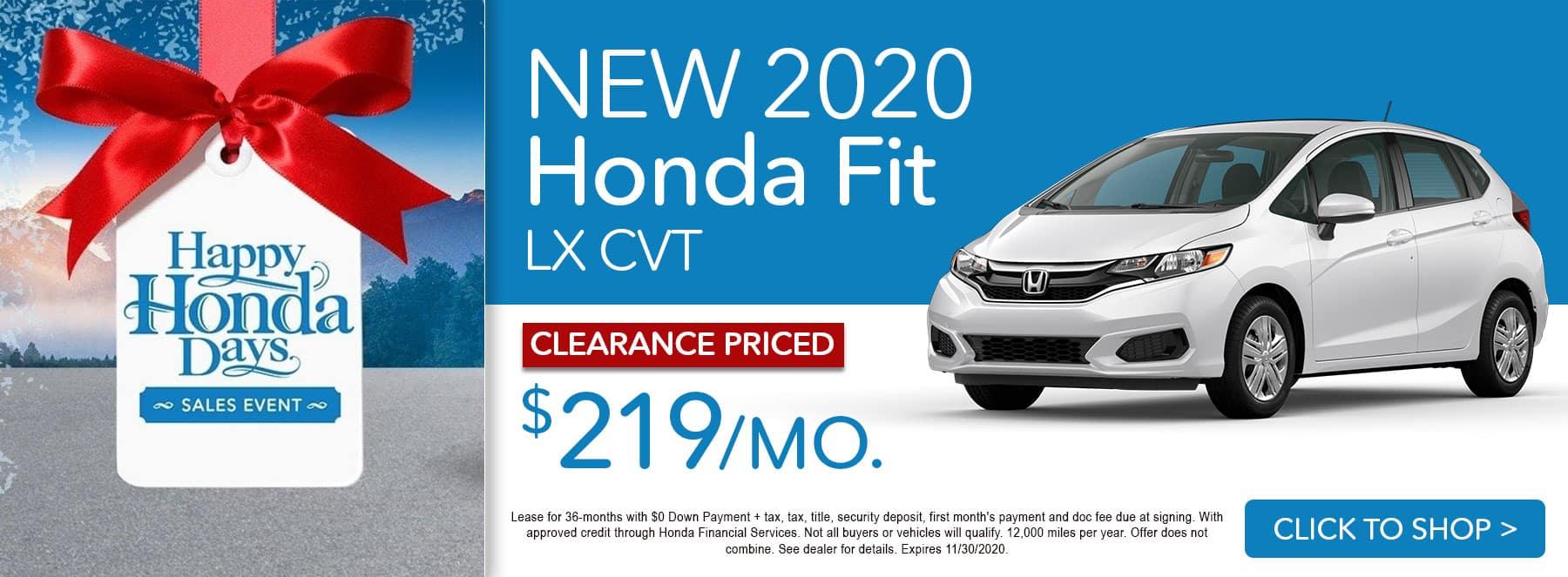 Black Friday - 2020 Honda Fit LX Lease