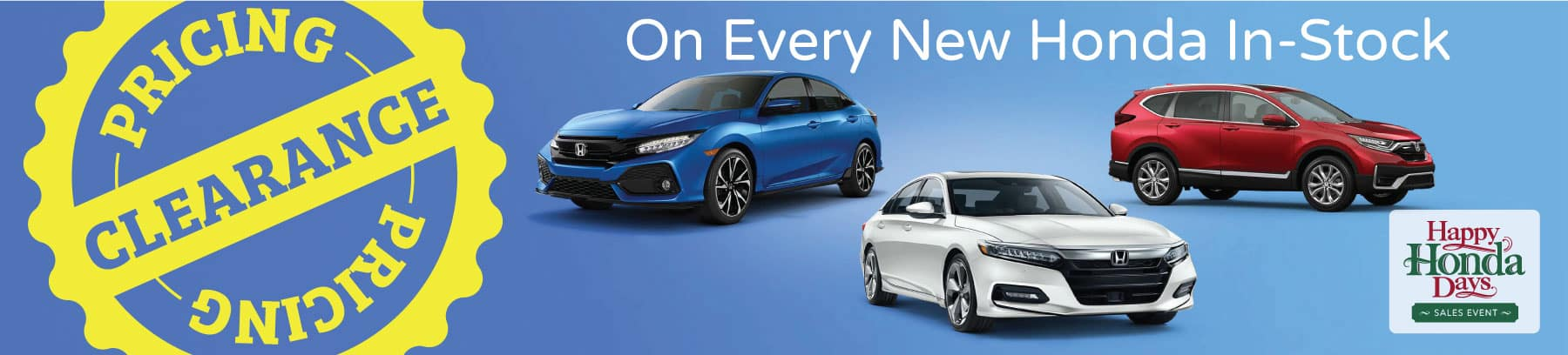 Clearance pricing on every new Honda in-stock