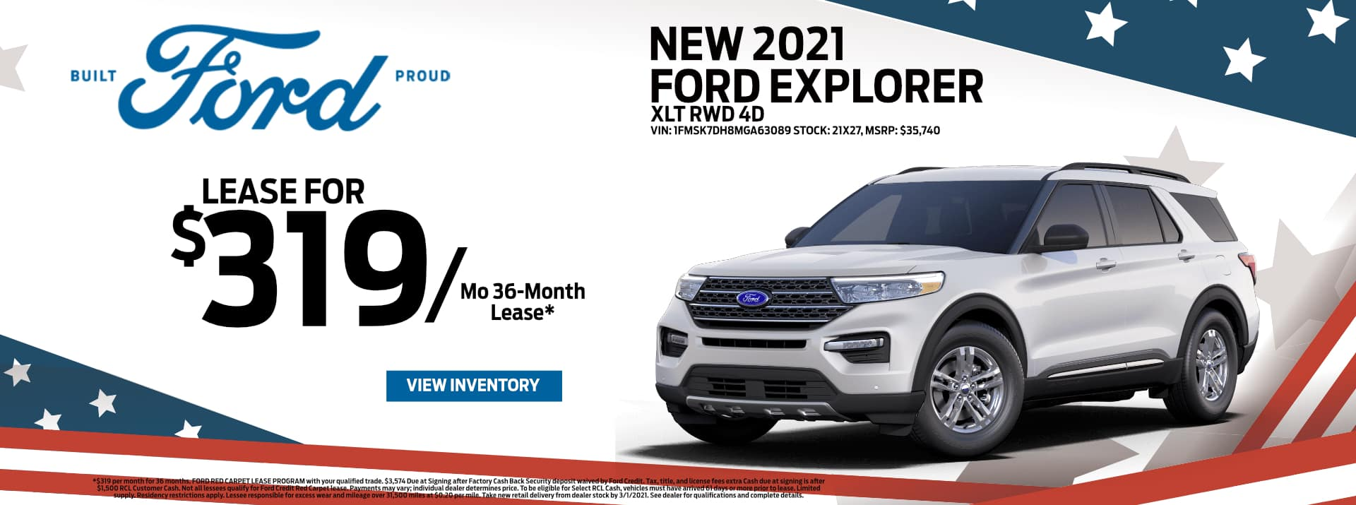 February-2021 Ford Explorer Lease PSM
