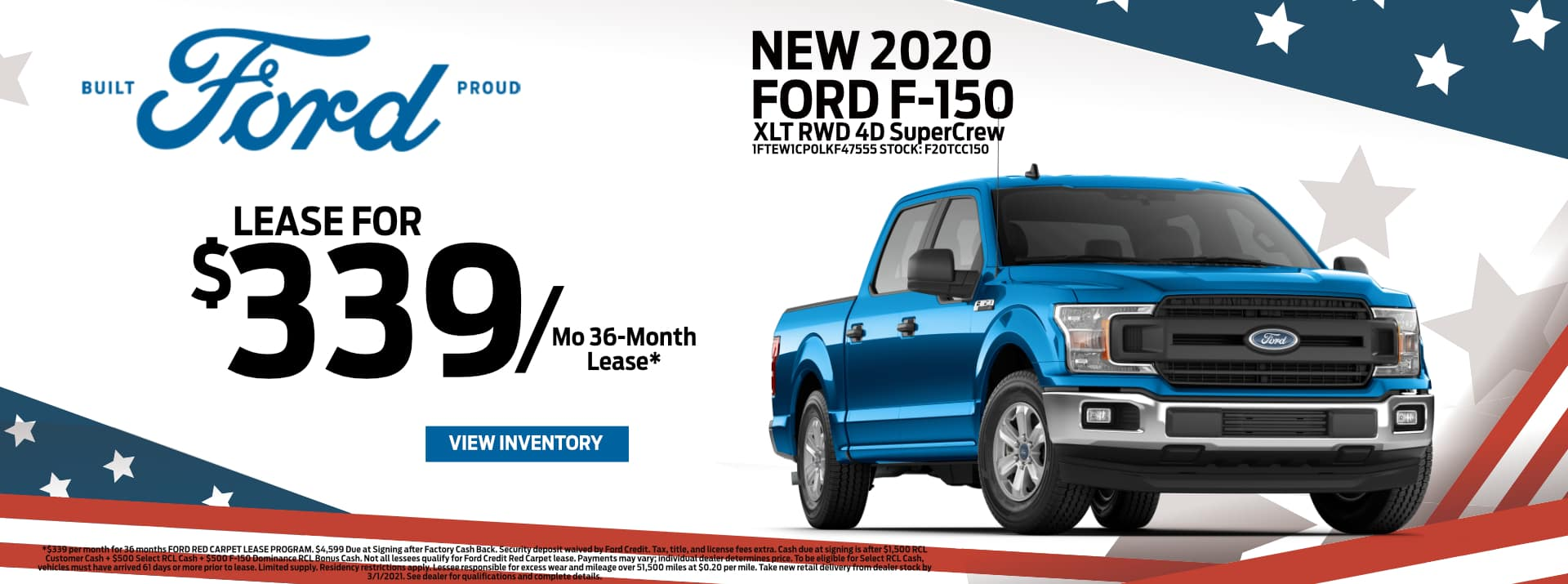 February-2021 Ford F-150 Lease PSF
