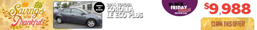 PMSELECT-050 11.17.17 Thanksgiving Blk Fri website banner Toyota Corolla