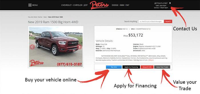 Screenshot showing online retailing options