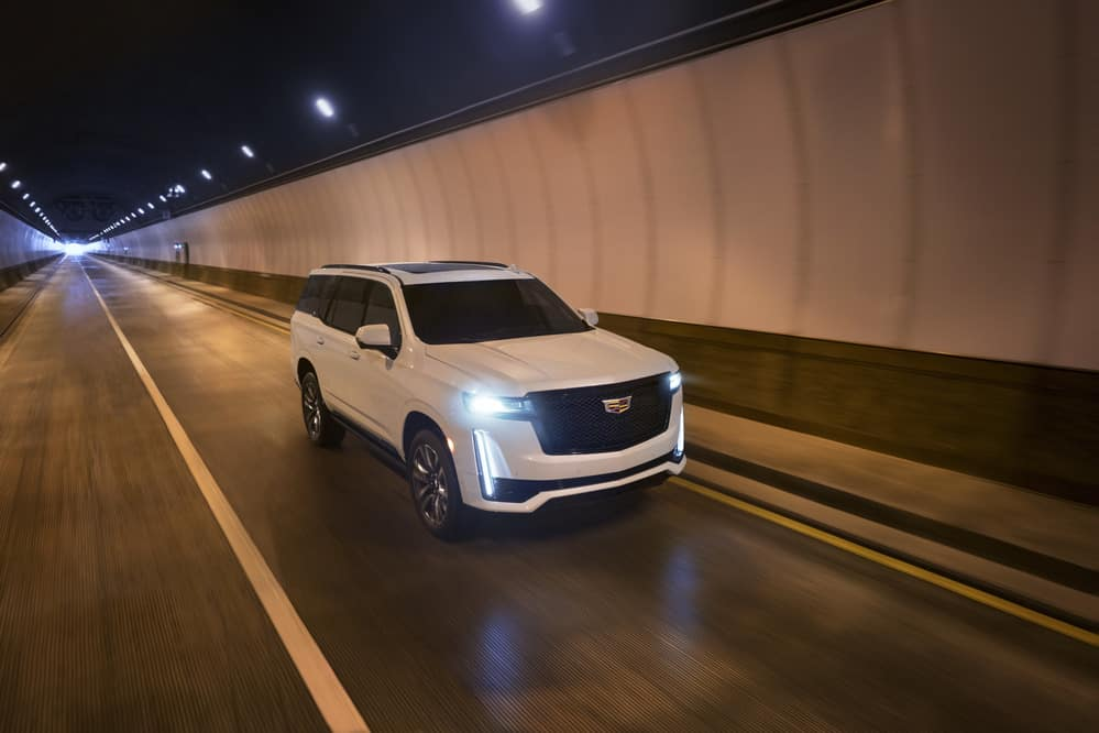 2021 Cadillac Escalade driving in a tunnel