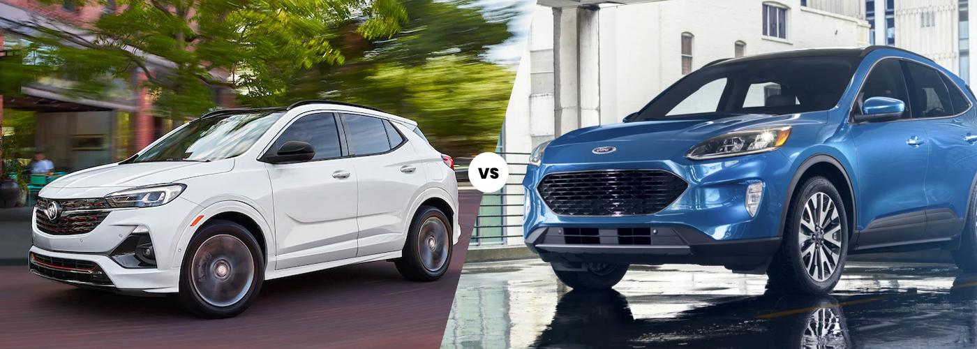 2021 white buick encore gx vs 2021 ford escape comparison image