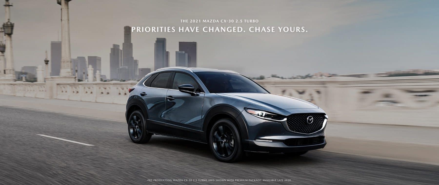 2021 blue Mazda CX30 turbo