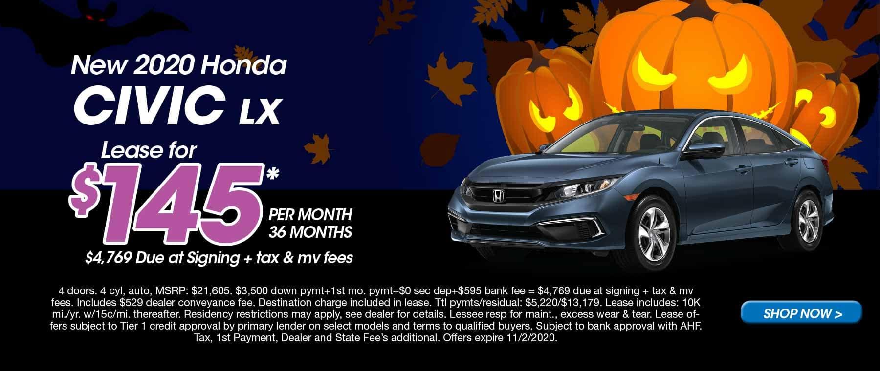 Schaller Honda 2020 Civic Oct Lease Offer
