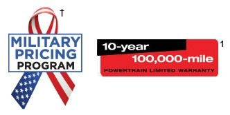 Military Pricing Program. 10-Year 100,000-mile Powertrain Limited Warranty