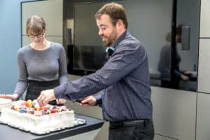Part's Mananger Sean Woodworth celebrates 15yrs with Three Point Motors