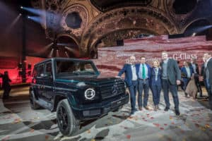 Mercedes-Benz New Year's Reception on the eve of the 2018 North American International Auto Show (NAIAS). World Premiere of the new Mercedes-Benz G-Class. Dieter Zetsche, Arnold Schwarzenegger, Britta Seeger, Ola Källenius