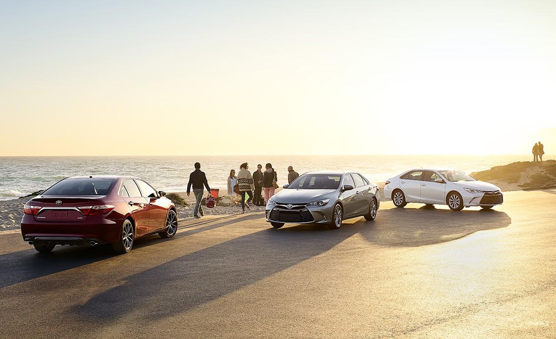 Toyota Camrys on beach