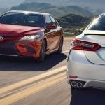 2018 Toyota Camry models driving on highway