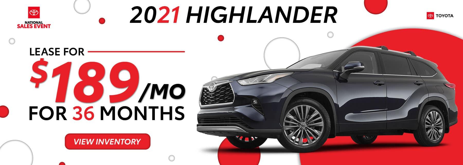 Toyota Highlander August Offers