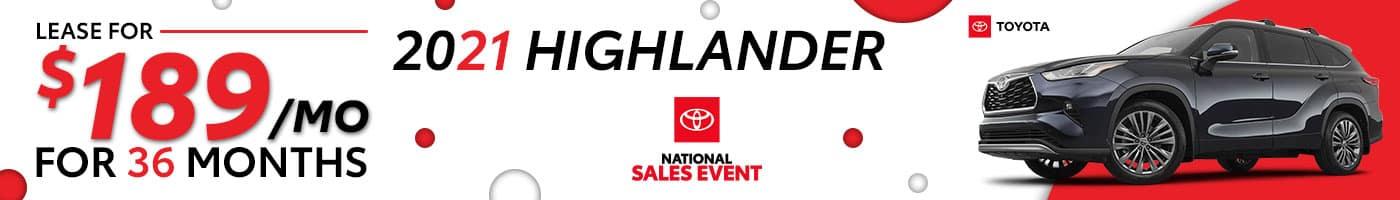 2021 Toyota Highlander August Offers