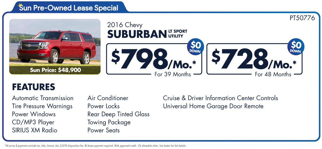 Sun Chevy Cicero >> 2016 Chevy Suburban Pre-Owned Lease Special | Used Car King