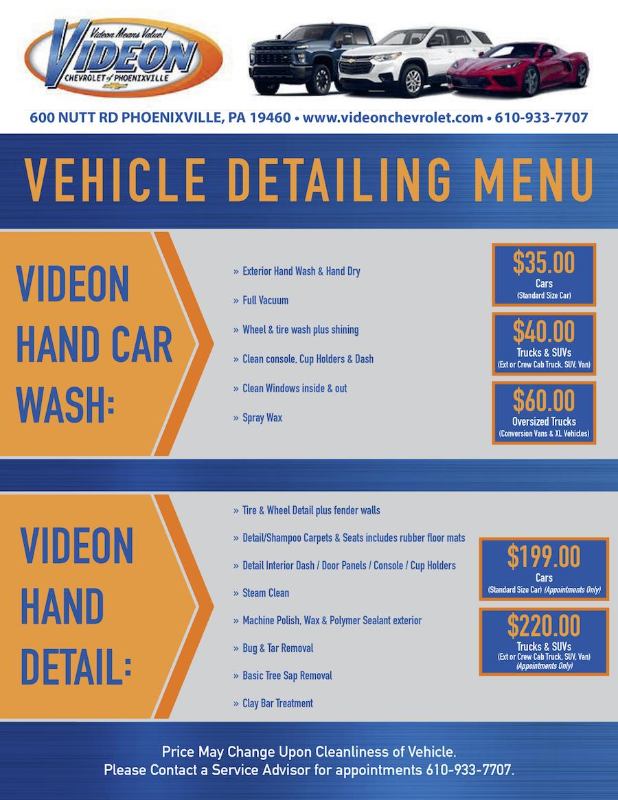 detailing menu