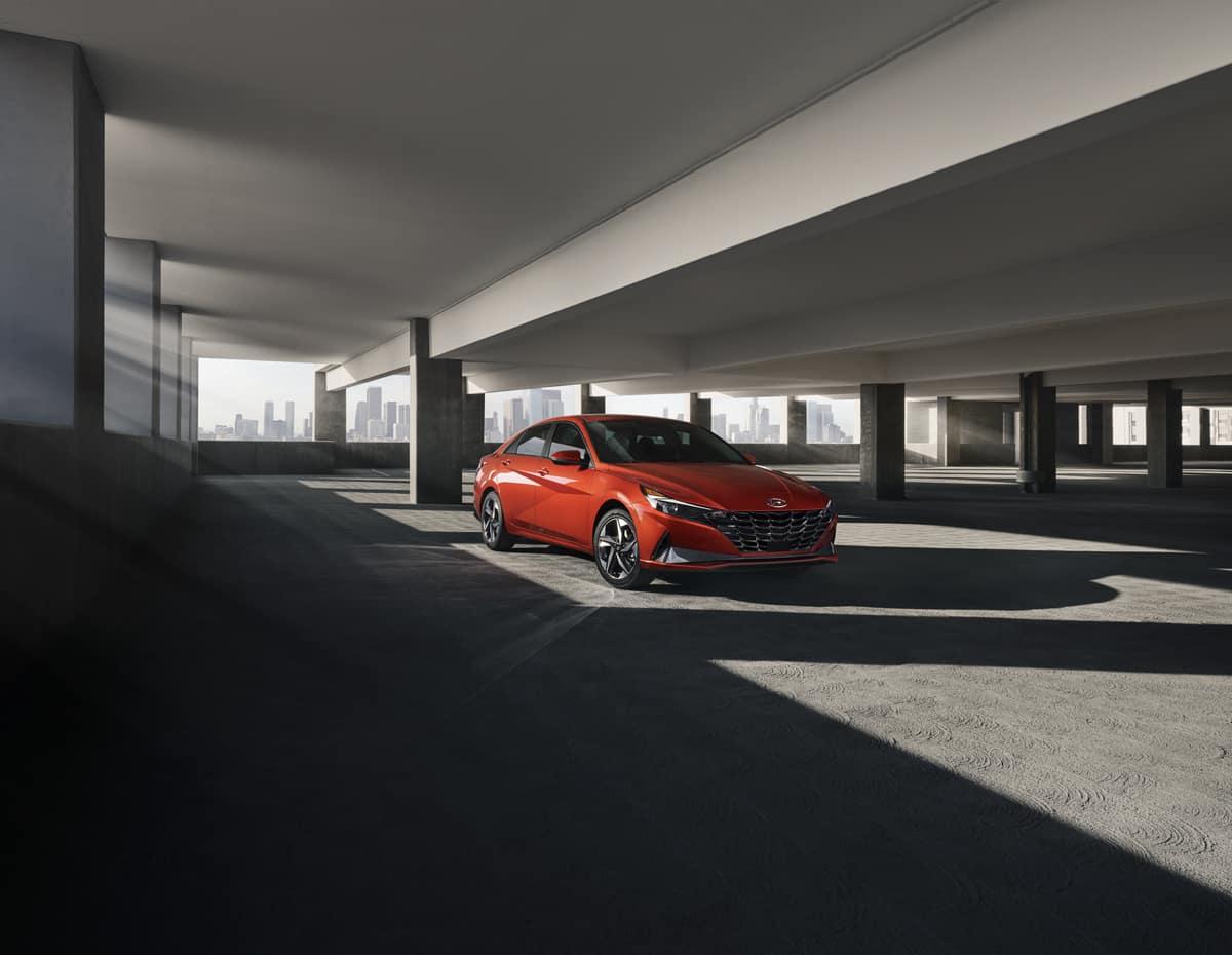 Washington Hyundai is a Hyundai Dealership in Washington near Wolfdale, PA   2021 Hyundai Elantra parked in a parking garage