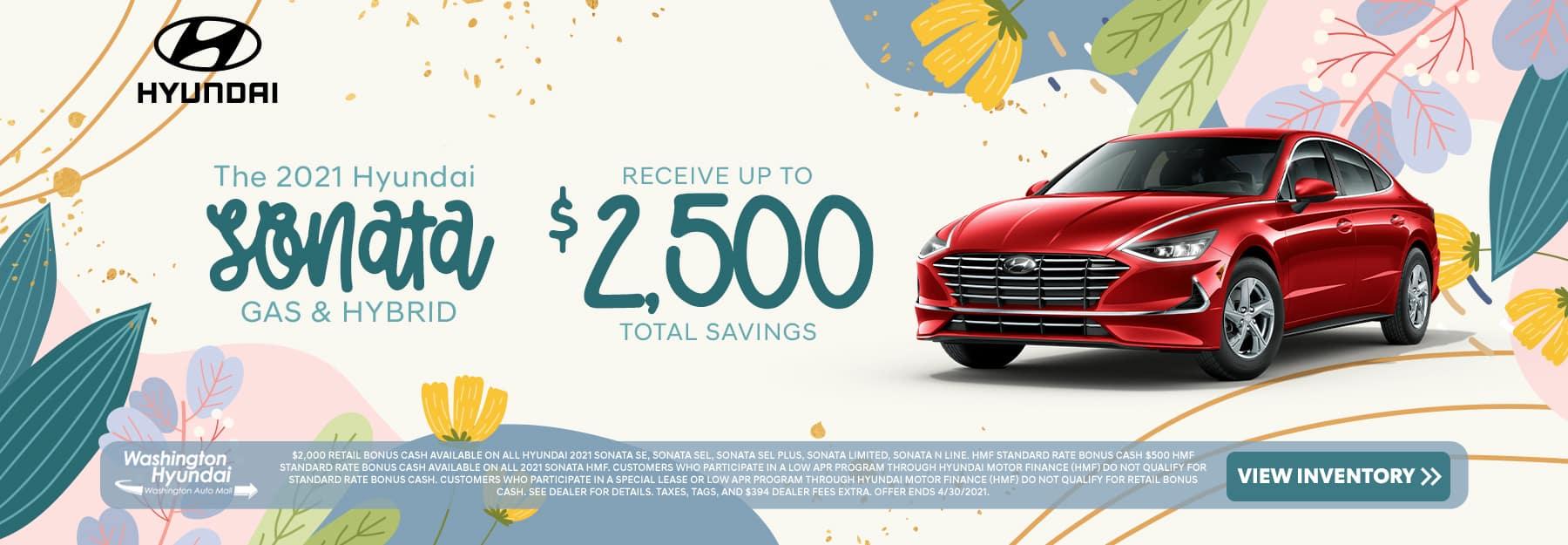 The 2021 Hyundai Sonata Gas & Hybrid - save up to $2,500!